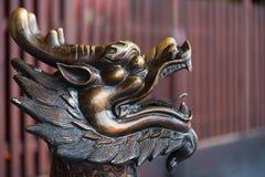 Золотое scultpure головы дракона цвета Стоковые Изображения RF