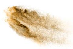 Золотой взрыв песка изолированный на белой предпосылке Абстрактное облако песка Стоковая Фотография