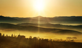 Золотой восход солнца на холмах Стоковые Изображения RF