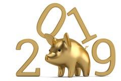 Золотой дизайн свиньи на китайский год торжества Нового Года свиньи 3 стоковое фото rf