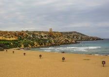 Золотой залив, Mellieha, к западу от Мальты, Европа стоковое изображение