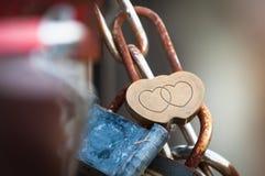 Золотой замок при 2 сердца прикрепленного к загородке Стоковые Фотографии RF