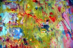 Золотой зеленый цвет запачкал абстрактную предпосылку, яркую предпосылку, текстуру Стоковое Изображение RF