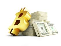 Золотой знак bitcoin на куче иллюстрации долларов 3D наличных денег, перевода 3D Стоковые Фото