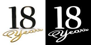 Золотой 18 18 и леты надписи с тенью падения и каналом альфы иллюстрация 3d иллюстрация штока