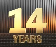 Золотой 14 14 и леты слова на фоне параллелепипедов металла прямоугольных в Стоковые Фотографии RF