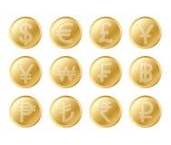 Золотой комплект монетки Реалистическое собрание lifelike золотых монеток иллюстрация вектора
