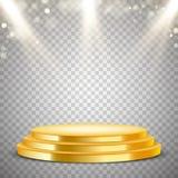 Золотой круглый подиум с световым эффектом Стоковое фото RF