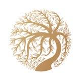 Золотой логотип дерева Стоковые Изображения