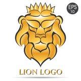 Золотой логотип льва Иллюстрация вектора льва в кроне Стоковая Фотография RF
