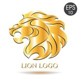 Золотой логотип льва Иллюстрация вектора льва Стоковое Изображение RF