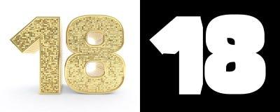 Золотой 18 18 на белой предпосылке с тенью падения и каналом альфы иллюстрация 3d Бесплатная Иллюстрация