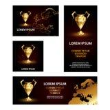 Золотой низкий поли набор знамен чашки лиги чемпионов стоковые фото