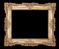 Золотой путь клиппирования предпосылки черноты картинной рамки Стоковая Фотография