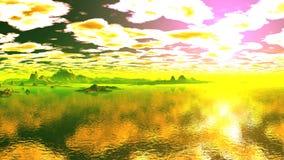 Золотой рассвет отражая в воде акции видеоматериалы