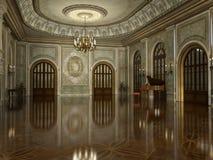 Золотой роскошный грандиозный интерьер Hall иллюстрация штока