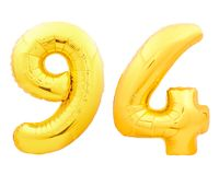 Золотой 94 94 сделал из раздувного воздушного шара Стоковое Изображение RF