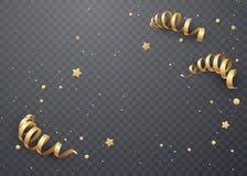 Золотой серпентин на прозрачной предпосылке Шаблон для рождественских открыток иллюстрация вектора