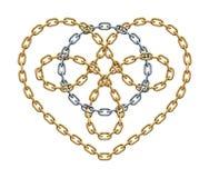Золотой символ сердца с серебряным кругом внутри сделанным цепей Знак любов цикла также вектор иллюстрации притяжки corel иллюстрация вектора