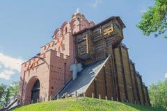 Золотой строб - старый памятник здания городища от времен Kievan Руси kiev стоковое фото rf