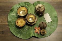 Золотой шар 2 с формой цветка свечи на зеленых лист Стоковые Фотографии RF