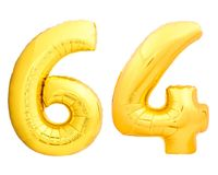 Золотой 64 шестьдесят четыре сделал из раздувного воздушного шара Стоковое Изображение