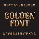 Золотой шрифт алфавита Винтажные богато украшенные письма иллюстрация вектора