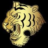 Золотой японский вектор дизайна татуировки головы тигра Стоковая Фотография