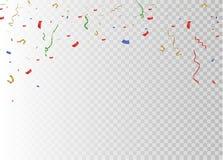 Золотой confetti, изолированный на клетчатой предпосылке Confetti праздничной иллюстрации вектора крошечный с лентой на белизне Стоковые Фотографии RF