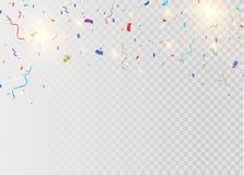 Золотой confetti, изолированный на клетчатой предпосылке Confetti праздничной иллюстрации вектора крошечный с лентой на белизне Стоковые Фото