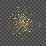 Золотой confetti на прозрачной предпосылке вектор иллюстрация штока