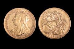 золото английской языка монетки стоковое изображение