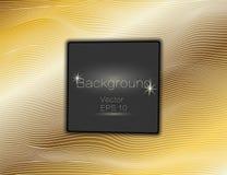 Золото волнистое, линии роскошь Предпосылка нашивок золота текстуры вектора с темной квадратной плитой Замотка прокладки Панель п бесплатная иллюстрация