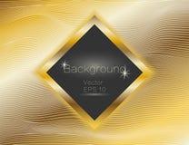 Золото волнистое, линии роскошь Предпосылка нашивок золота текстуры вектора, с темной квадратной плитой Замотка прокладки прямоуг иллюстрация штока
