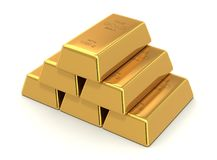 Золото в слитках иллюстрации 3d иллюстрация штока