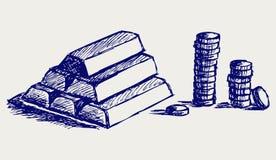 Золото в слитках и монетки иллюстрация штока
