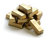Золото в слитках и финансовая концепция иллюстрация штока