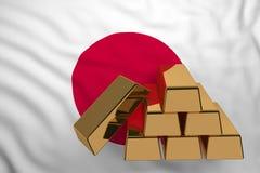 Золото в слитках на флаге Японии иллюстрация штока