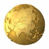 золото глобуса Азии Стоковые Изображения RF
