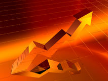 золото диаграммы диаграммы стрелки 3d Стоковые Фото