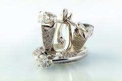 золото диамантов treasures белизна Стоковое Изображение