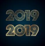 Золото дизайн 2019 Новых Годов на синей предпосылке иллюстрация штока