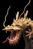Золото дракона на черноте Стоковое фото RF