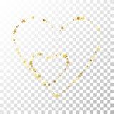 Золото играет главные роли линии Confetti на прозрачной предпосылке иллюстрация штока