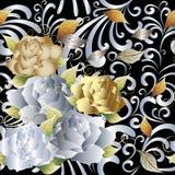 Золото и белые розы 3d Стоковая Фотография