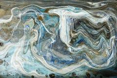 Золото и голубой мраморизуя дизайн текстуры Золотая мраморная картина Жидкое искусство стоковые изображения rf