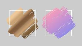 Золото и градиент пинка пастельный чистят ходы щеткой над квадратной рамкой иллюстрация штока