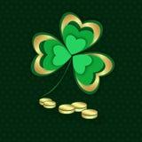 Золото и зеленые shamrock и монетки День ` s St Patrick иллюстрация штока