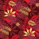 Золото и красная геометрическая тропическая безшовная картина иллюстрация штока