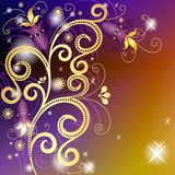 Золото и лиловая флористическая рамка Стоковая Фотография RF